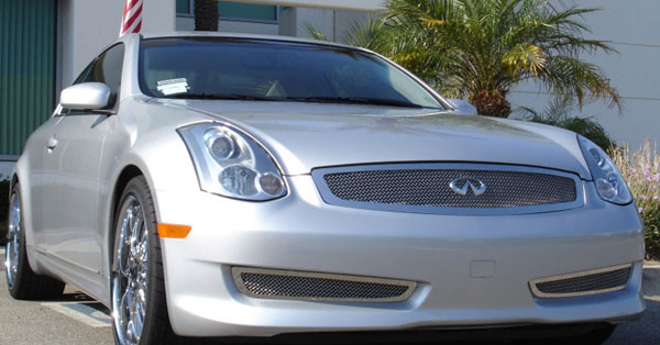T-Rex 54797 |  Infiniti G-35 (2 Dr Coupe) 2003 - 2007 Upper Class Polished Stainless Mesh Grille