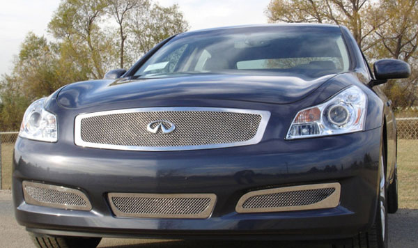 T-Rex 54809:  Infiniti G-35 Sedan 2007 - 2008 Upper Class Polished Stainless Mesh Grille - With Formed Mesh Center