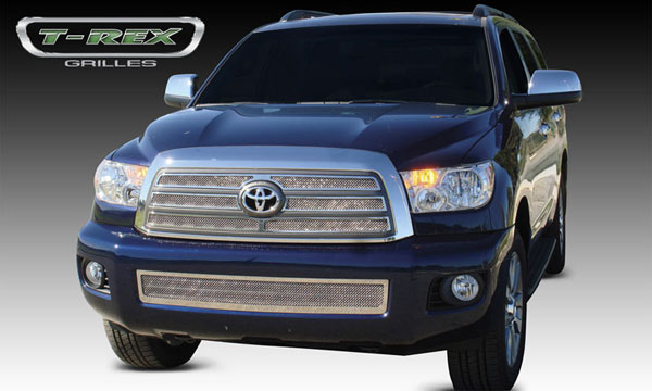 T-Rex 54902:  Toyota Sequoia 2008 - 2012 Upper Class Polished Stainless Mesh Grille - 4 Pc - EZ Install