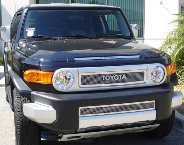 T-Rex 54932:  Toyota FJ Cruiser 2007 - 2013 Upper Class Polished Stainless Mesh Grille - 2 Pc (Includes Hood Scoop Insert)