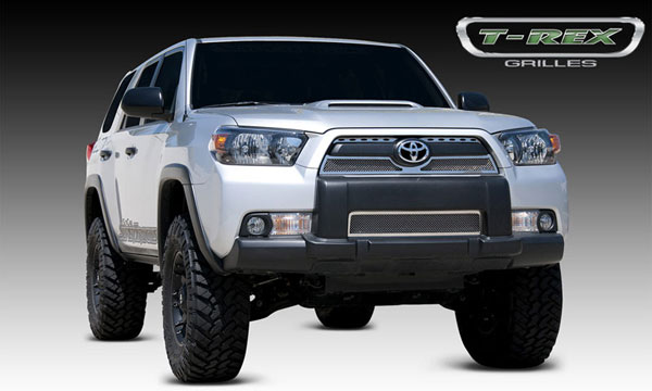 T-Rex 54947:  Toyota 4RUNNER 2010 - 2013 Upper Class Polished Stainless Mesh Grille - 3 Pc - Overlay (Top Sections with Oval Holes)