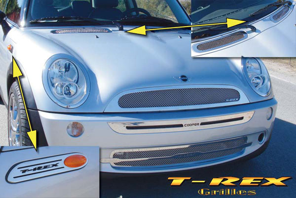 T-Rex 54991:  Mini S Mini Cooper S 2005 - 2007 Upper Class Polished Stainless Mesh Grille Kit - Includes 2 Pc Grille, Hood Vents & Marker Badges