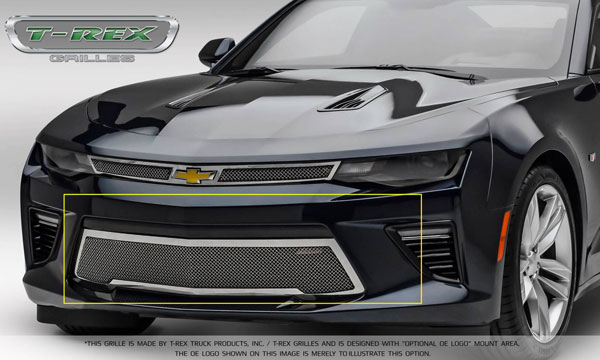 T-Rex 55036:  Camaro 2016 SS Bumper Grille Overlay with Polished Stainless Steel - Upper Class