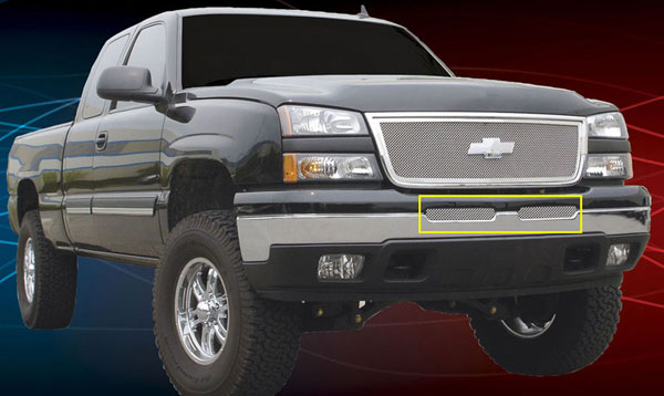 T-Rex 55103:  Chevrolet Silverado (All Models) 2003 - 2006 Upper Class Polished Stainless Bumper Mesh Grille (Mesh Only - No Frame)