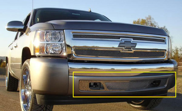 T-Rex 55110:  Chevrolet Silverado 1500 & 07-10 HD 2007 - 2013 Upper Class Polished Stainless Bumper Mesh Grille
