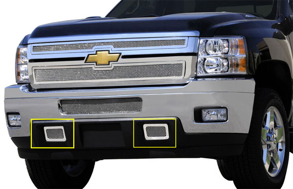 T-Rex 55115:  Chevrolet Silverado HD 2011 - 2012 Upper Class Polished Stainless Mesh Tow Hook Bumper Grille - 2 Pc