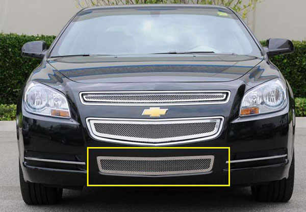 T-Rex 55168:  Chevrolet Malibu 2008 - 2012 Upper Class Polished Stainless Bumper Mesh Grille