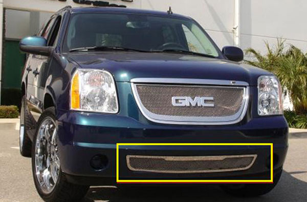 T-Rex 55172:  GMC Yukon 2007 - 2013 Upper Class Polished Stainless Bumper Mesh Grille - With Tow Hooks Removed