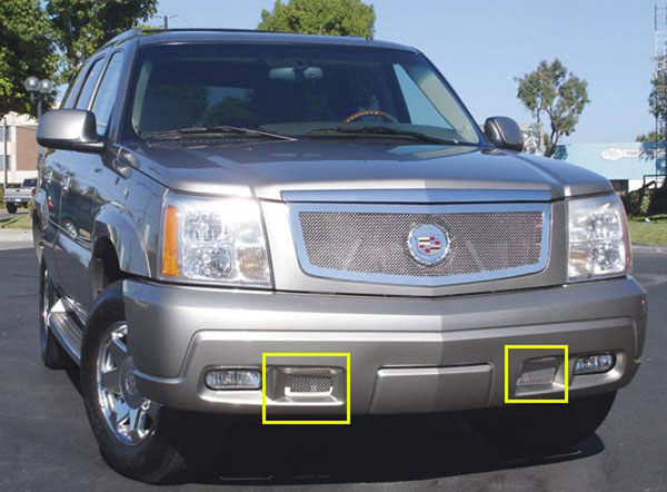 T-Rex 55183:  Cadillac Escalade, EXT, ESV 2002 - 2006 Upper Class Polished Stainless Bumper Mesh Grille (Mount from the front)