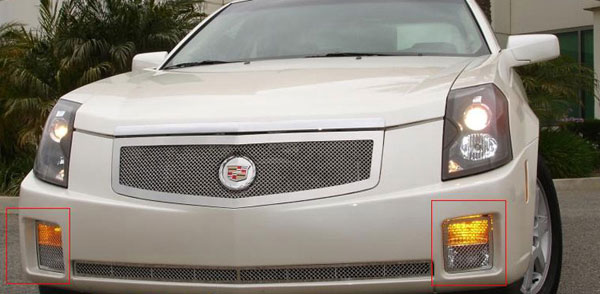 T-Rex 55193:  Cadillac CTS 2003 - 2007 Upper Class Polished Stainless Bumper Mesh Grille - 2 Pc Turn Signal Lamp