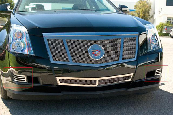 T-Rex 55198:  Cadillac CTS (w/o fogs lights) 2008 - 2011 Upper Class Polished Stainless Bumper Mesh Grille - 2 Pc Bumper Caps (Without Factory Fog Lights)
