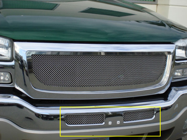 T-Rex 55200:  GMC Sierra (All Models except C3) 2003 - 2006 Upper Class Polished Stainless Bumper Mesh Grille - Mounts behind chrome bumper openings (Mesh Only - No Frame)