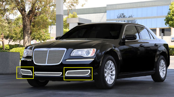 T-Rex 55434:  Chrysler 300 without Adaptive Cruise 2011 - 2013 Upper Class Polished Stainless Bumper Mesh Grilles - 2 Pc - Will not fit vehicles with Adaptive Cruise