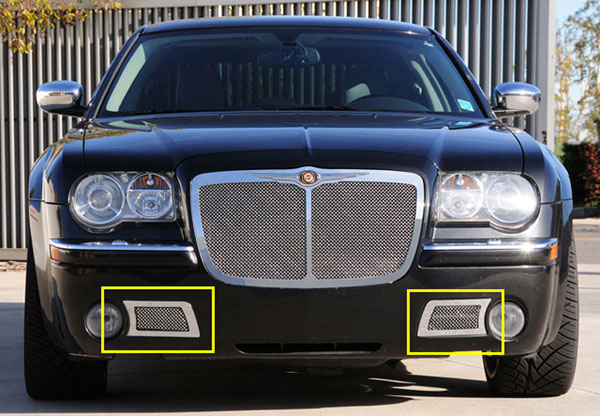 T-Rex 55471:  Chrysler 300C (Only) 2005 - 2010 Upper Class Polished Stainless Bumper Mesh Grille - 300C Only - With Formed Mesh Center