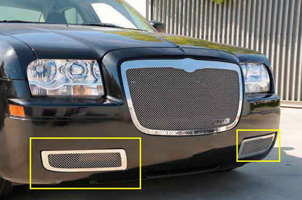 T-Rex 55472 |  Chrysler 300 without factory fog lights - Upper Class Polished Stainless Bumper Mesh Grille - Will not fit 300C or Touring w/ Fog Lights; 2005-2010