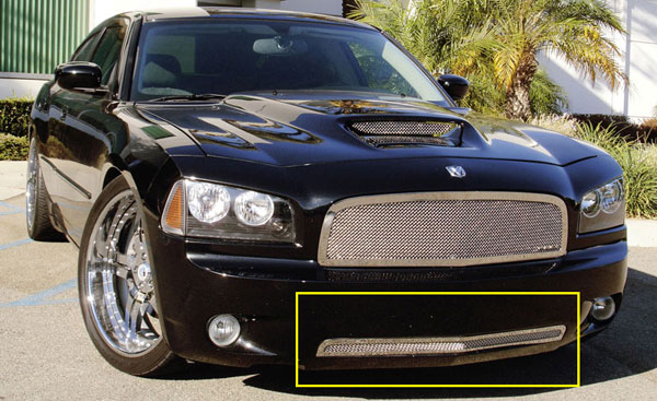 T-Rex (55474)  Dodge Charger 2005 - 2010 Upper Class Polished Stainless Bumper Mesh Grille