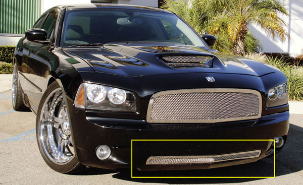 T-Rex 55475:  Dodge Charger SRT 2005 - 2010 Upper Class Polished Stainless Bumper Mesh Grille