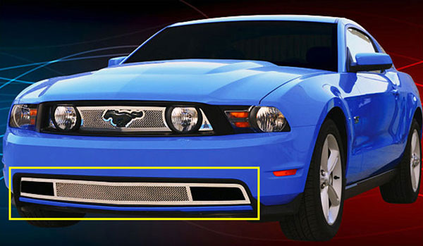 T-Rex 55519:  Ford Mustang GT Models 2010 - 2012 Upper Class Polished Stainless Bumper Mesh Grille - With Formed Mesh Center