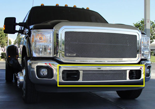 T-Rex 55546:  Ford Super Duty 2011 - 2012 Upper Class Polished Stainless Bumper Mesh Grille - Between Tow Hooks (Mesh Only - No Frame)