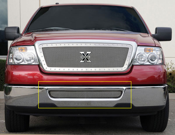 T-Rex 55552 |  Ford F150 / Mark LT (All Models) - Upper Class Polished Stainless Bumper Mesh Grille; 2004-2005