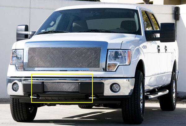 T-Rex (55569)  Ford F-150 2009 - 2013 Upper Class Polished Stainless Bumper Mesh Grille - With Formed Mesh Center