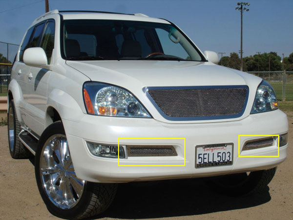 T-Rex 55601 |  Lexus GX - Upper Class Polished Stainless Bumper Mesh Grille - 2 PC; 2003-2009