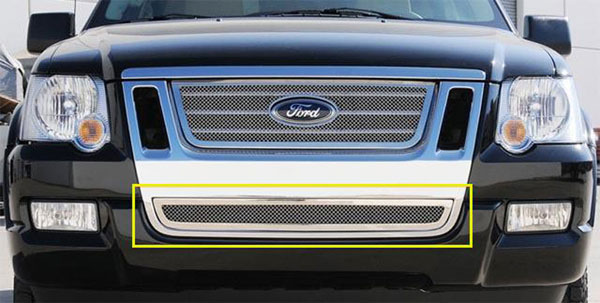 T-Rex (55662)  Ford Explorer Sport Trac 2006 - 2010 Upper Class Polished Stainless Bumper Mesh Grille