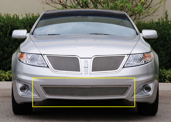 T-Rex 55718:  Lincoln MKS 2009 - 2011 Upper Class Polished Stainless Bumper Mesh Grille