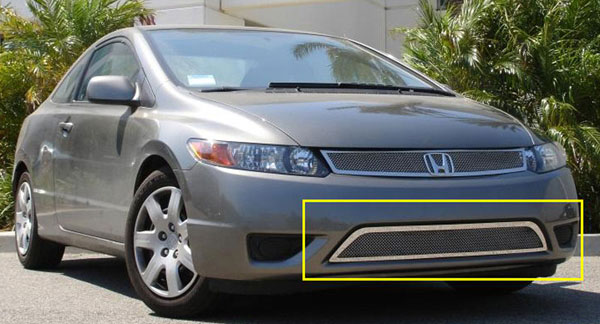 T-Rex (55736)  Honda Civic (Coupe) 2006 - 2008 Upper Class Polished Stainless Bumper Mesh Grille