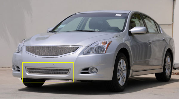 T-Rex 55767:  Nissan Altima 2010 - 2012 Upper Class Polished Stainless Bumper Mesh Grille
