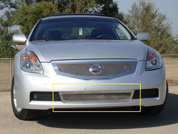 T-Rex 55769:  Nissan Altima Coupe 2008 - 2009 Upper Class Polished Stainless Bumper Mesh Grille