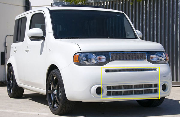 T-Rex 55772:  Nissan Cube 2009 - 2012 Upper Class Polished Stainless Bumper Mesh Grille - Includes top bumper grille w/frame and lower airt dam mesh (Mesh only / No frame)