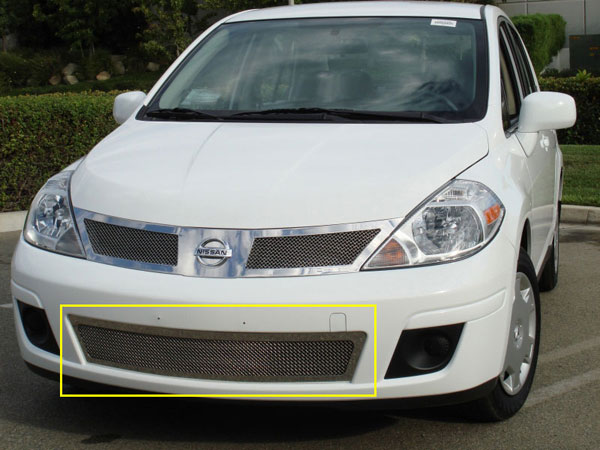 T-Rex 55773:  Nissan Versa 2007 - 2011 Upper Class Polished Stainless Bumper Mesh Grille