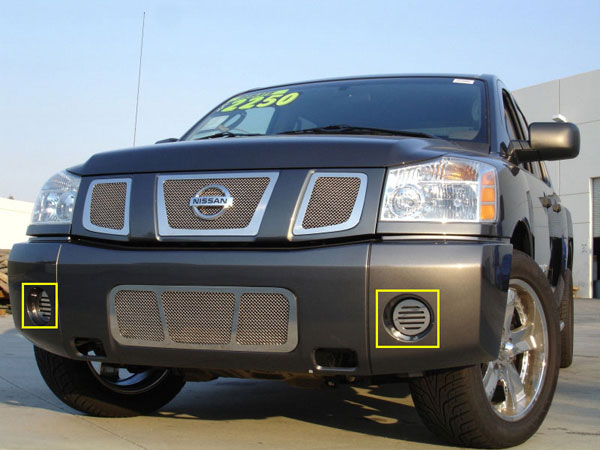 T-Rex 55781:  Nissan Titan (04-07 Armada) 2004 - 2012 SS Fog Lamp Grilles - 2 Fog (with out factory fogs)