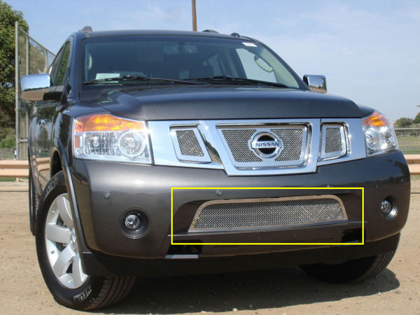 T-Rex 55782:  Nissan Armada 2008 - 2010 Upper Class Polished Stainless Bumper Mesh Grille