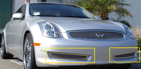 T-Rex 55794:  Infiniti G-35 Coupe SPORT EDITION 2006 - 2007 Upper Class Polished Stainless Bumper Mesh Grille - 2 Pc (Except road sensing cruise)