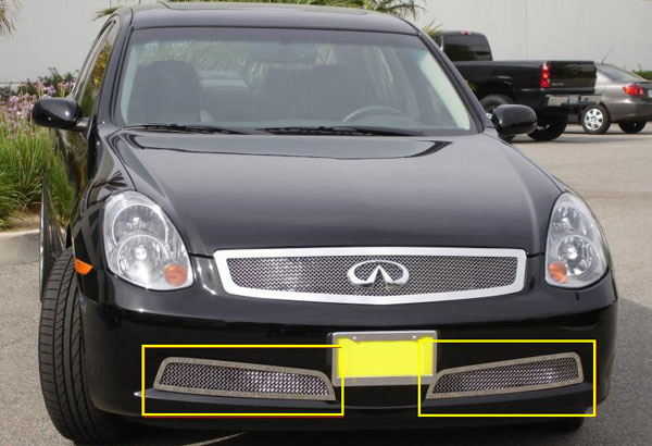 T-Rex 55799:  Infiniti G-35 - 4 Door Sedan 2005 - 2006 Upper Class Polished Stainless Bumper Mesh Grille - 2 Pc (Except road sensing cruise)