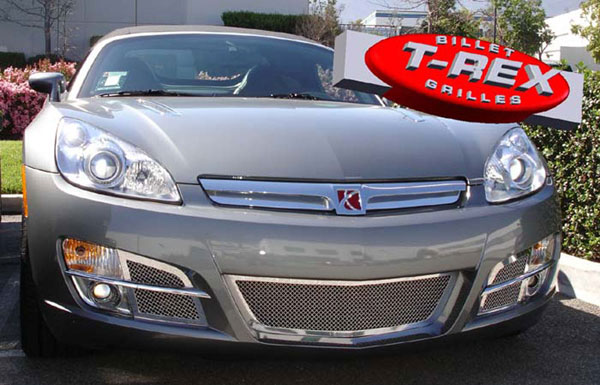 T-Rex 55805 |  Saturn Sky - Upper Class Polished Stainless Bumper Mesh Grille - 4 Pc Kit (Includes SS plate behind factory grille) - Sky Models Only; 2007-2008