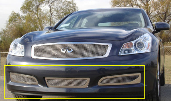 T-Rex 55809:  Infiniti G-35 Sedan 2007 - 2008 Upper Class Polished Stainless Bumper Mesh Grille - With Formed Mesh Center (Except road sensing cruise & 6MT Models)