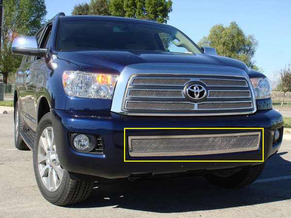T-Rex 55902:  Toyota Sequoia 2008 - 2012 Upper Class Polished Stainless Bumper Mesh Grille
