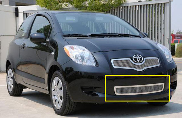 T-Rex 55926:  Toyota Yaris Hatchback 2007 - 2008 Upper Class Polished Stainless Bumper Mesh Grille