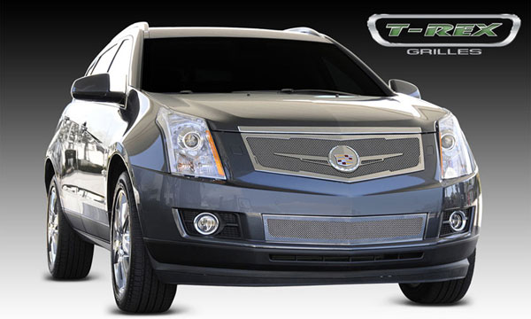 T-Rex 56186 |  Cadillac SRX - Upper Class Mesh Grille, Replacement, Full Opening, w/ Winged OE Logo Plate, Chrome; 2010-2013