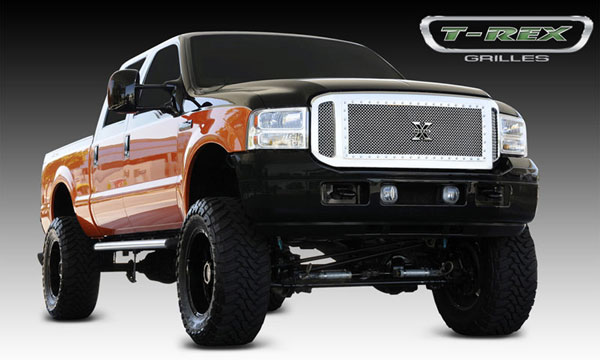 T-Rex 6705610 |  Ford Super Duty, Excursion - X-Metal Series Grille Assembly - Chrome Shell - w/ Polished Stainles Steel X-Metal Grille Installed; 2005-2007