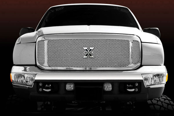 T-Rex 6705700:  Ford Super Duty, Excursion 1999 - 2004 X-Metal Series Grille Assembly - Chrome Shell - w/ Polished Stainles Steel Mesh and X-Metal Logo (No Studs)