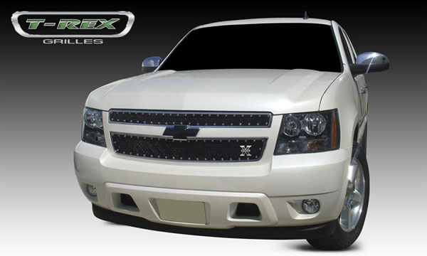 T-Rex 6710511:  Chevrolet Avalanche 2007 - 2013 X-METAL Series - Studded Main Grille - ALL Black - 2 Pc Style