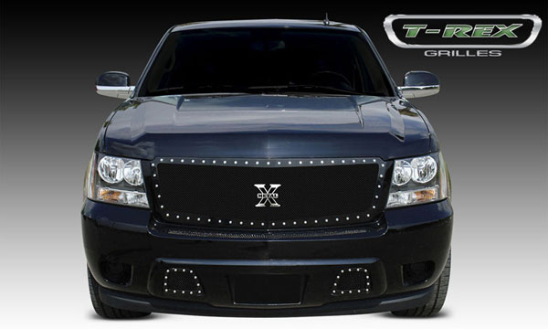 T-Rex (6710521)  Chevrolet Avalanche 2007 - 2013 X-METAL Series - Studded Main Grille - ALL Black - Custom 1 Pc Style (Requires cutting factory bumper)