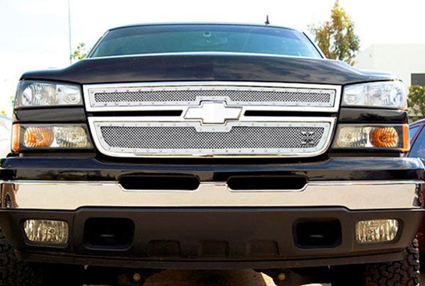 T-Rex 6711060:  Chevrolet Silverado 2500HD, 3500 (All 2006 Models) 2006 - 2006 X-METAL Series - Studded Main Grille - Polished SS - 2 Pc Style