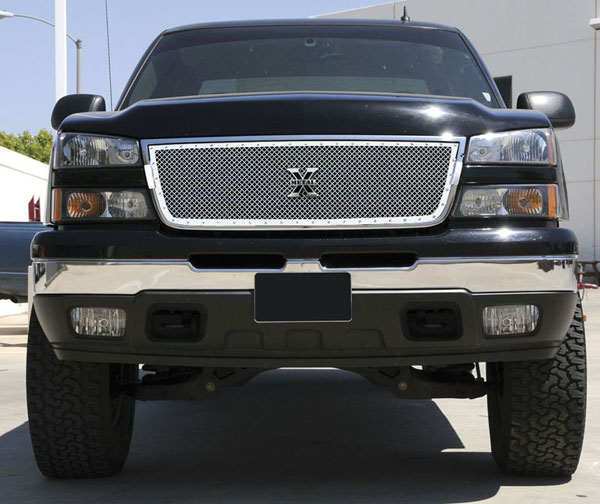 T-Rex 6711070:  Chevrolet Silverado 2500HD, 3500 (All 2006 Models) 2006 - 2006 X-METAL Series - Studded Main Grille - Polished SS - Custom 1 Pc Grille - Incl Billet End Caps (Requires cutting)