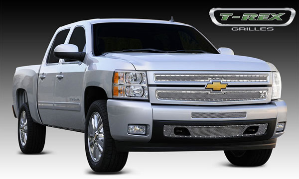 T-Rex 6711100 |  Chevrolet Silverado 1500 - X-METAL Series - Studded Main Grille - Polished SS - 2 Pc Style; 2007-2013