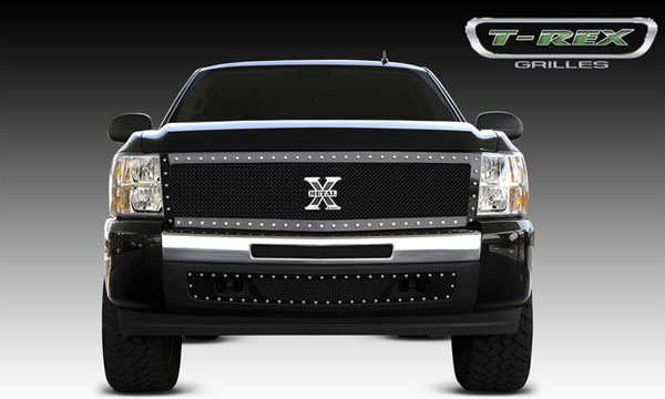 T-Rex 6711111:  Chevrolet Silverado 1500 2007 - 2013 X-METAL Series - Studded Main Grille - ALL Black - Custom 1 Pc (Replaces OE Grille) (UPS OS3)
